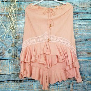 BHAG's Cotton High Low Boho Peach Skirt